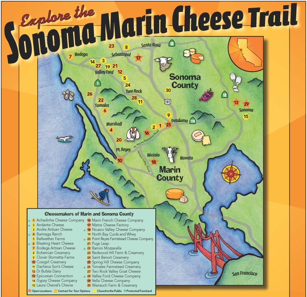 Sonoma, Marin Cheese Trail Map - Booker and Butler Concierges